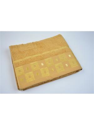 Махровое полотенце шахмат. бежевый 70*140-100% хлопок, в коробке УзТ-ПМ-114-09-03к Aisha. Цвет: бежевый