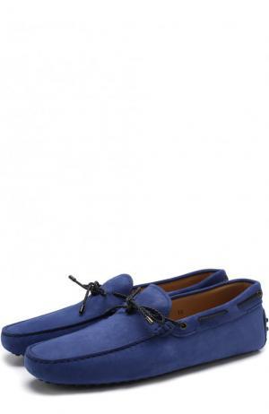 Однотонные замшевые мокасины Tod's. Цвет: синий