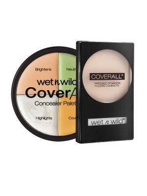 Набор № 89 корректор 4 тона + пудра coverall Wet n Wild. Цвет: прозрачный, бежевый, зеленый, розовый