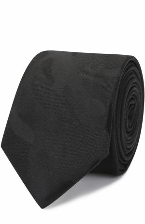 Шелковый галстук с камуфляжным принтом Valentino. Цвет: черный