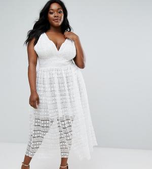 Truly You Приталенное платье миди с кружевной отделкой. Цвет: белый