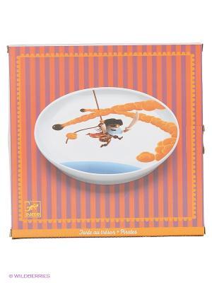 Большая плоская тарелка Пираты DJECO. Цвет: белый
