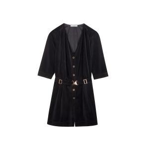 Комбинезон с шортами велюровый STEREO CLUB SESSUN. Цвет: черный