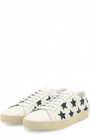Кожаные кеды Classic Court с аппликациями в виде звезд Saint Laurent. Цвет: белый