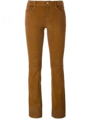 Расклешенные замшевые брюки J Brand. Цвет: телесный
