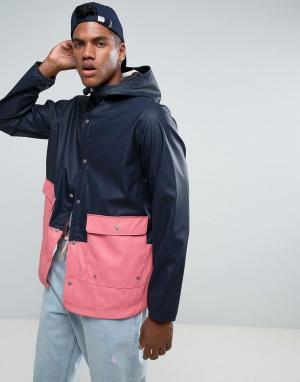 Herschel Supply Co 2-цветная сине-розовая непромокаемая куртка с капюшоном Forec. Цвет: темно-синий