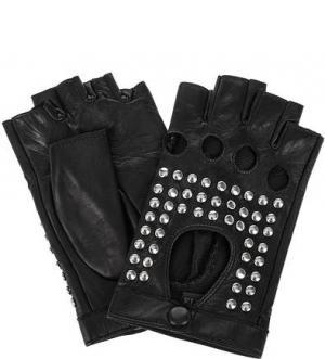Кожаные митенки с металлическим декором ELEGANZZA. Цвет: черный