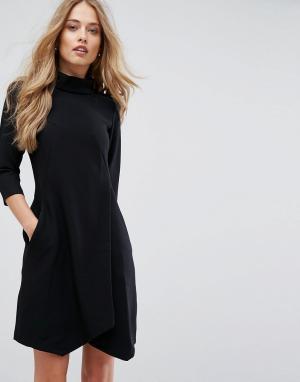 Closet London Платье с запахом на юбке и коротким рукавом. Цвет: черный