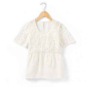 Блузка с короткими рукавами R teens. Цвет: белый