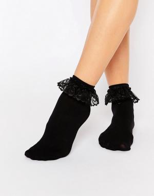 Leg Avenue Носки с кружевными оборками. Цвет: черный