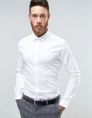 ASOS Зауженная рубашка с узором в елочку Wedding. Цвет: белый