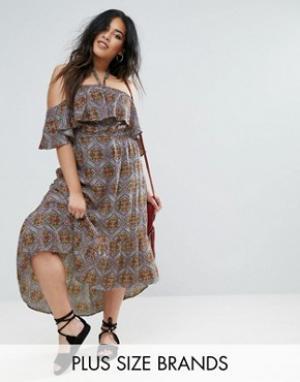 Diya Платье макси с оборкой. Цвет: мульти