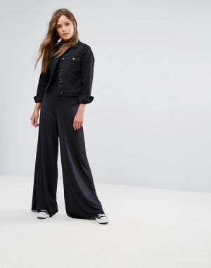 New Look Брюки с широкими штанинами. Цвет: черный