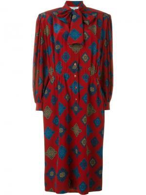 Платье с геометрическим принтом Jean Louis Scherrer Vintage. Цвет: красный