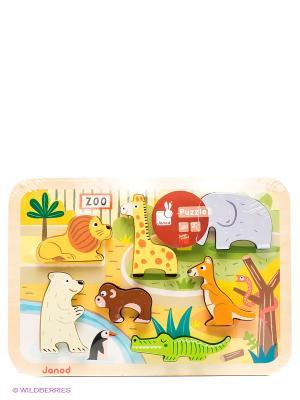 Пазл объемный Зоопарк, 7 элементов Janod. Цвет: желтый