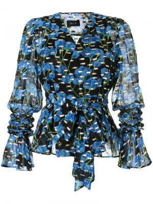 Блузка с запахом и цветочным принтом G.V.G.V.. Цвет: синий