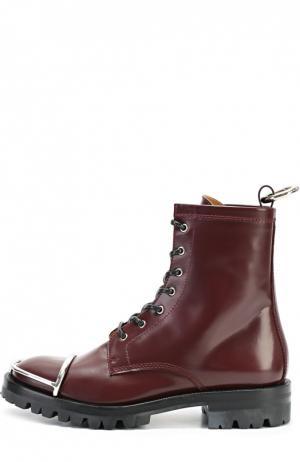 Кожаные ботинки с металлической вставкой на мысе Alexander Wang. Цвет: бордовый