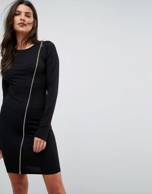 ASOS Облегающее платье на молнии с длинными рукавами. Цвет: черный