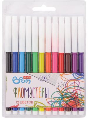 Фломастеры 12 цветов BOOM.. Цвет: белый