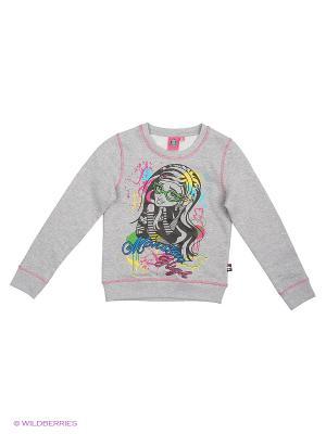 Свитшот Monster High. Цвет: серый меланж, фиолетовый