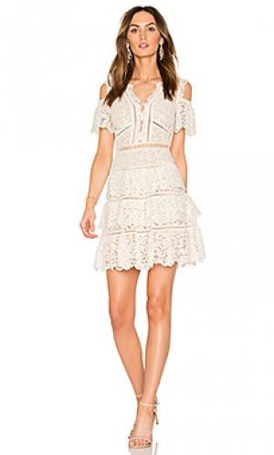 Кружевное платье с открытыми плечами eliza Rebecca Taylor. Цвет: белый