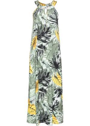 Длинное платье с цепочкой (оливковый/светло-зеленый рисунком) bonprix. Цвет: оливковый/светло-зеленый с рисунком