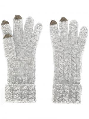 Трикотажные перчатки N.Peal. Цвет: серый