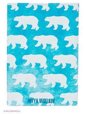 Обложка для паспорта Mitya Veselkov. Цвет: синий, белый
