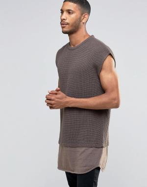 ASOS Oversize-джемпер без рукавов с контрастной трикотажной вставкой по низ. Цвет: коричневый