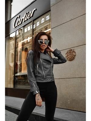 Куртка-косуха MADMILK. Цвет: темно-серый