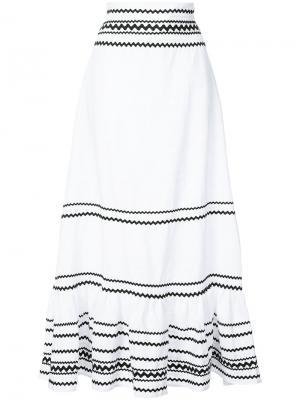 Длинная юбка с полосатым узором Lisa Marie Fernandez. Цвет: белый