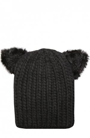 Шерстяная шапка с отделкой из меха норки Eugenia Kim. Цвет: черный