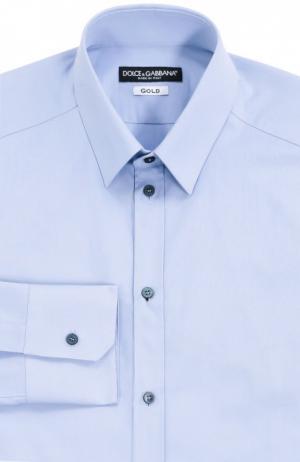 Хлопковая сорочка с итальянским воротником Dolce & Gabbana. Цвет: голубой