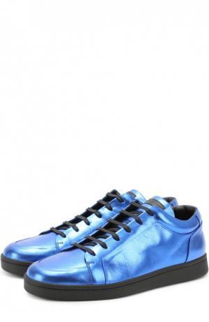 Кеды из металлизированной кожи на шнуровке Balenciaga. Цвет: синий