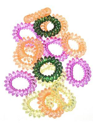 Прозрачные резинки - спиральки для волос, набор 15 штук Радужки. Цвет: светло-зеленый, голубой, красный, желтый