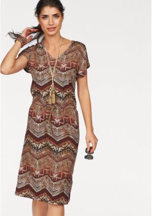 Платье BOYSENS BOYSEN'S. Цвет: красно-коричневый с рисунком