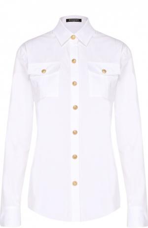 Блуза прямого кроя с накладными карманами и контрастными пуговицами Balmain. Цвет: белый