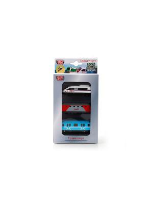 Набор из 3-х металлический моделей Технопарк. Цвет: голубой, красный, белый