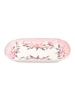 Блюдо для слоеных салатов Орхидея на розовом Elan Gallery. Цвет: белый, розовый