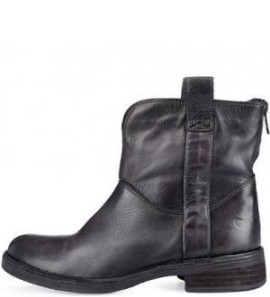 Черные кожаные полусапоги Felmini. Цвет: черный