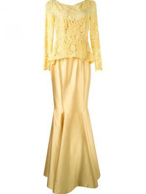 Длинное платье с кружевным топом Martha Medeiros. Цвет: жёлтый и оранжевый