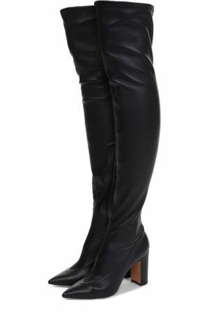 Кожаные ботфорты Side на устойчивом каблуке Valentino. Цвет: черный