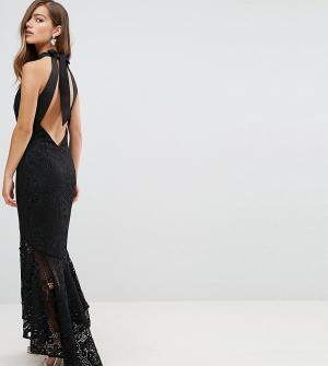 Jarlo Petite Кружевное платье макси с американской проймой и асимметричным подолом. Цвет: черный