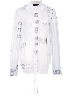 Прозрачная рубашка Words Area Di Barbara Bologna. Цвет: белый