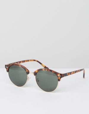AJ Morgan Круглые солнцезащитные очки в черепаховой оправе. Цвет: коричневый