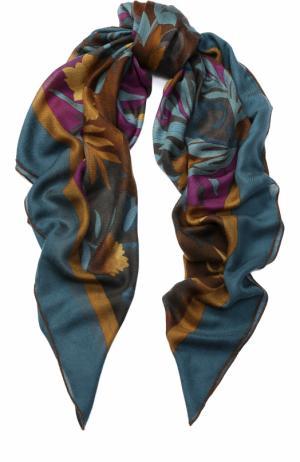 Шаль из смеси кашемира и шелка с принтом Loro Piana. Цвет: зеленый