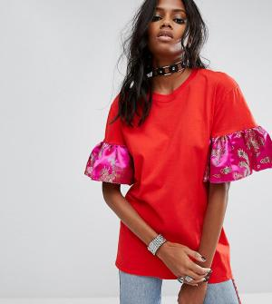Reclaimed Vintage Оверсайз-футболка с оборками на рукавах Inspired. Цвет: красный