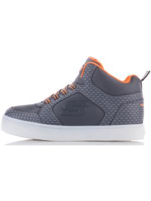 Кроссовки со светящейся подошвой SKECHERS. Цвет: серый, оранжевый