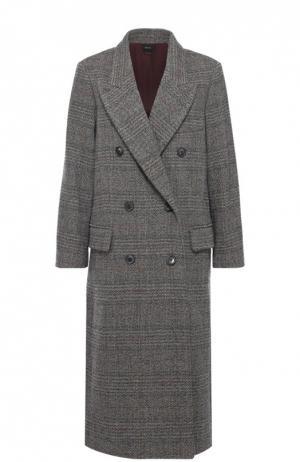 Удлиненное двубортное пальто с широкими лацканами Isabel Marant. Цвет: серый
