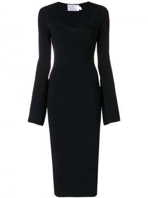 Платье в рубчик с V-образным вырезом Solace. Цвет: чёрный